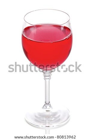 glass of red wine with isolated on white background
