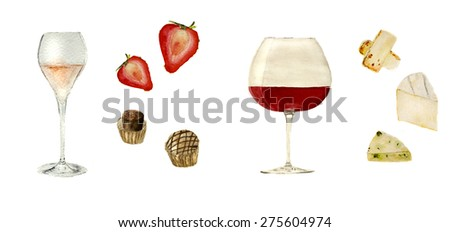 glass of rose champagne with sweets and strawberries, glass of red wine 'pinot noir' with set of cheese. Hand-drawn watercolor - stock photo