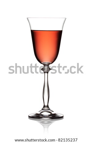Glass of rose wine on a white background. The file includes a clipping path. - stock photo