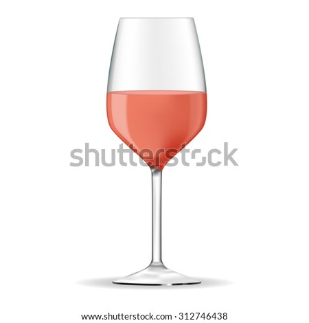 Glass of rose wine. Raster version isolated on white background