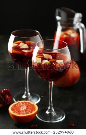 Glass of sandria on black background - stock photo