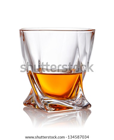 Glass of scotch whiskey with clipping path - stock photo