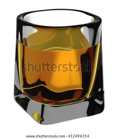 Glass of scotch whiskey with clipping path. Isolated on white background. 3D illustration - stock photo