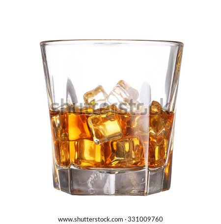 Glass of scotch whiskey with ice cube isolated on white background