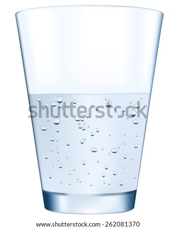 Glass of sparkling water isolated on white background. Raster version - stock photo