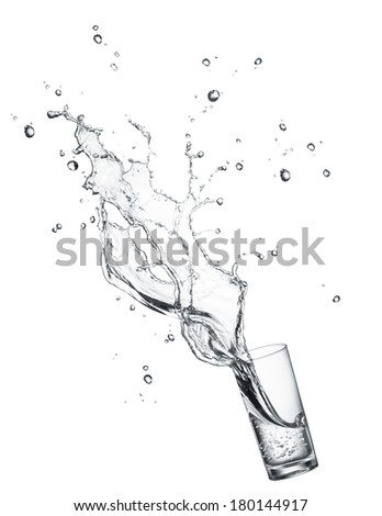 glass of splashing drinking water isolated on white
