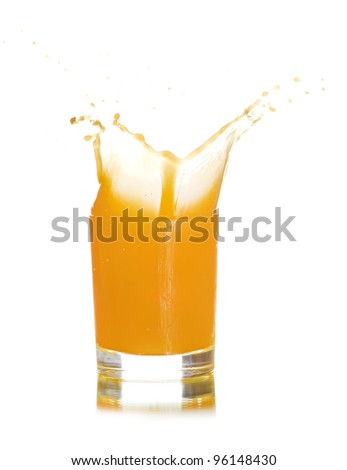 glass of splashing orange juice isolated on white