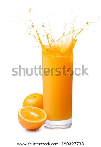 glass of splashing orange juice with its fruits - stock photo