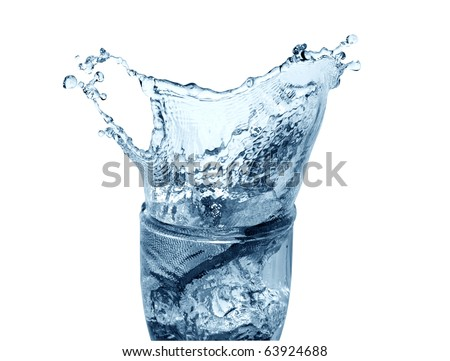 Glass of splashing water isolated on white background with clipping path