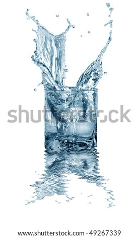 Glass of splashing water with ice. Isolated on white with clipping path