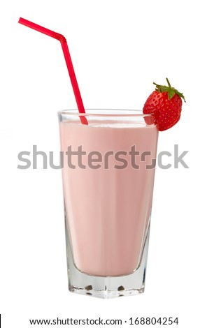 Glass of strawberry milkshake on white background - stock photo