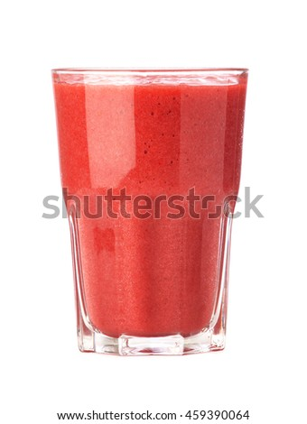 Glass of strawberry smoothie isolated on white background