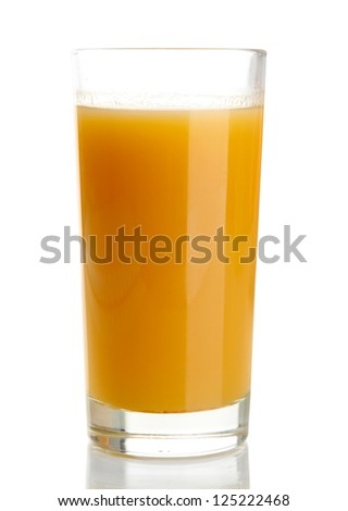 Glass of tasty pumpkin juice, isolated on white