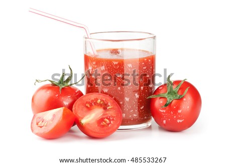 Glass of tasty tomato juice and tomatoes. Isolated on white