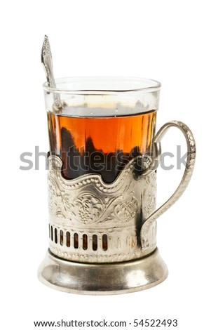 glass of tea in a silver cup isolated on white background - stock photo