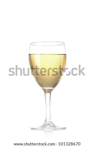glass of vine on  white background - stock photo