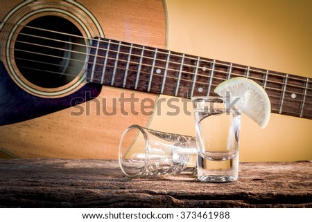 glass of vodka and Classical guitar. - stock photo