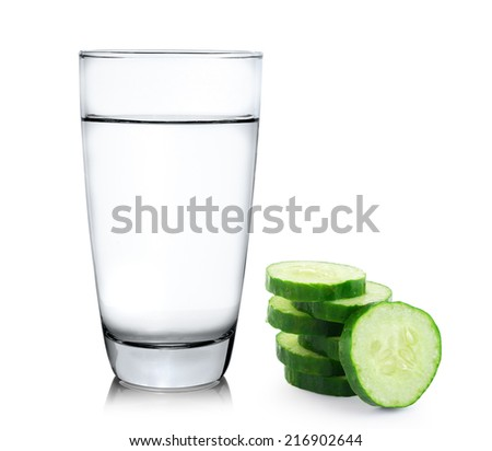 Glass of water and Fresh cucumber slice isolated on white background
