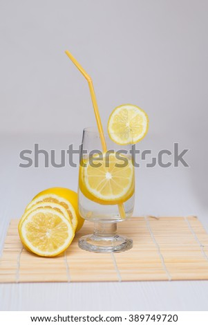 glass of water and lemon slices