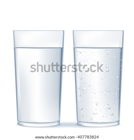 Glass of water and sparkling water.  isolated on white background. Illustration. Raster version - stock photo