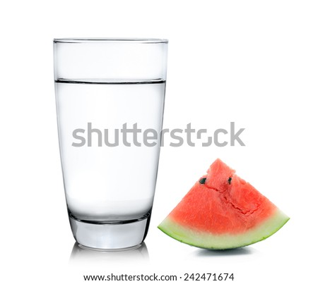Glass of water and watermelon isolated on white background - stock photo