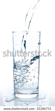 glass of water being poured
