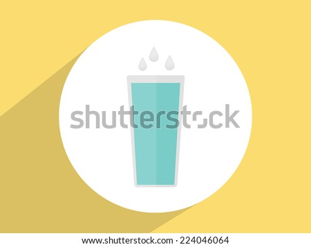 Glass of water ,Flat design style - stock photo