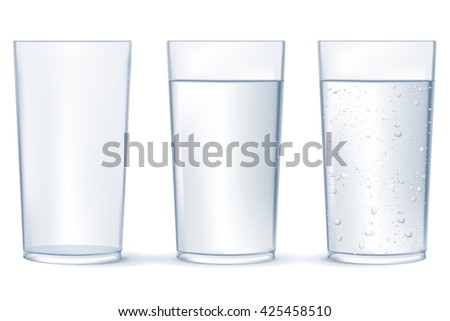 Glass of water. Glass of sparkling water. Illustration isolated on white background. Raster version - stock photo