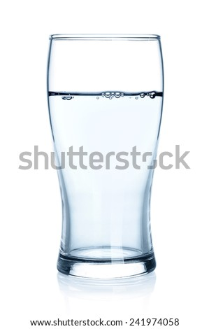 Glass of water isolated on a white background. - stock photo