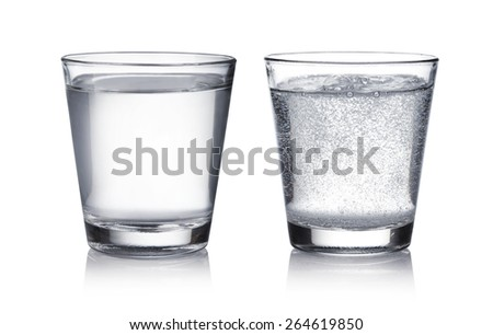 glass of water on a white background - stock photo