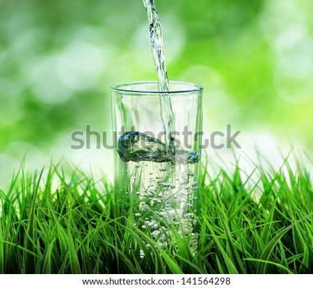 Glass of water on nature background. - stock photo