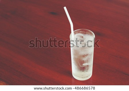 Glass of water on wooden background.
