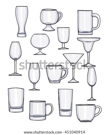 Glass of water tumbler set hand drawn art cute illustration