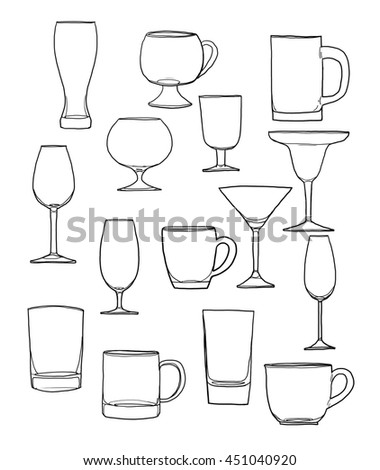 Glass of water tumbler set hand drawn line art cute illustration