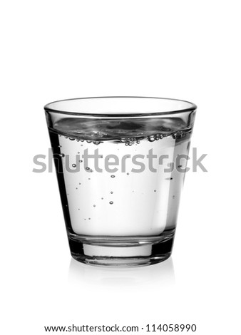Glass of water with bubbles - stock photo