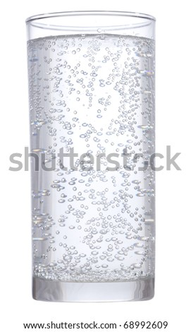 glass of water with bubbles on white background - stock photo