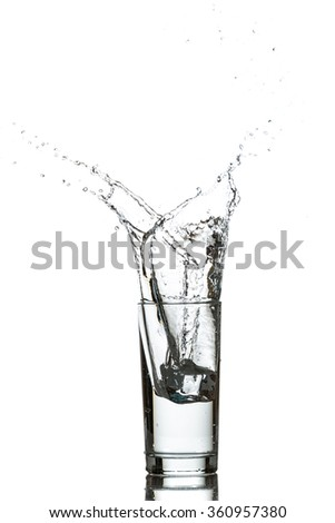 Glass of water with ice cubes - stock photo