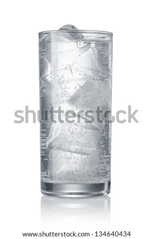 Glass of water with ice cubes isolated on white background - stock photo