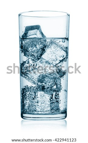 Glass of water with ice isolated on white background