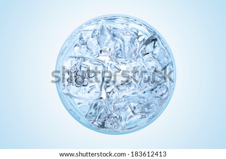 Glass of water with ice view from the top