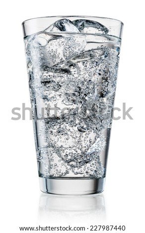 Glass of water with ice. With clipping path - stock photo