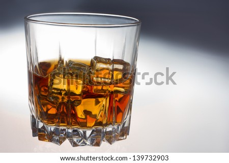 glass of whiskey and ice