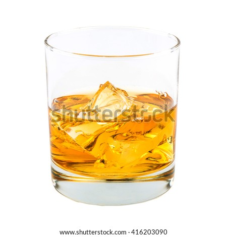 Glass of whiskey and ice isolated on white background. - stock photo