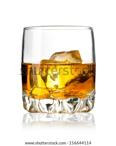 Glass of whiskey and ice isolated on white background. With clipping path - stock photo