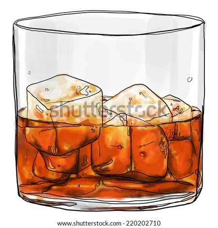 glass of whiskey cute painting - stock photo