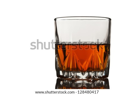 glass of whiskey isolated on white