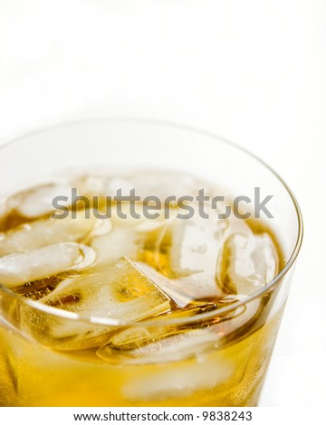 Glass of whiskey isolated on white background - stock photo