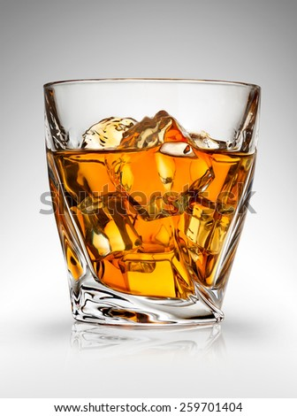 Glass of whiskey on a gray background