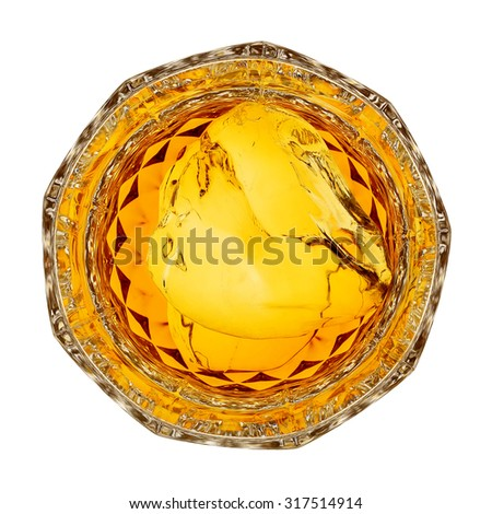 glass of whiskey on the rocks, top view isolated on white