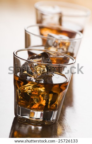 glass of whiskey with ice close up shoot